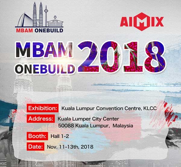 Aimix Attend MBAM ONEBUILD 2018 Malaysia In Nov 11-13th, 2018