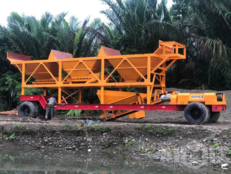 AJY 35 Mobile Concrete Plant Finished Installation In Indonesia